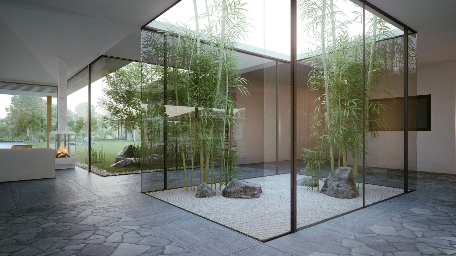 Main showroom acts as large lightwell for lobby? Channels light down into space  Open and angled top plane?