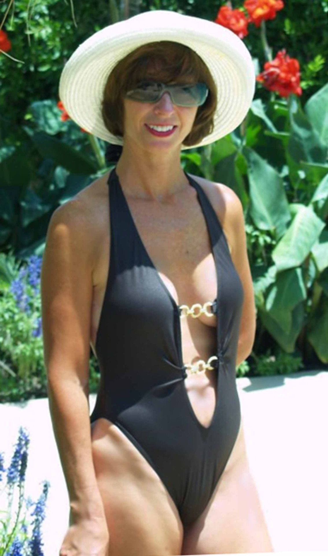 One piece micro bikini milf for