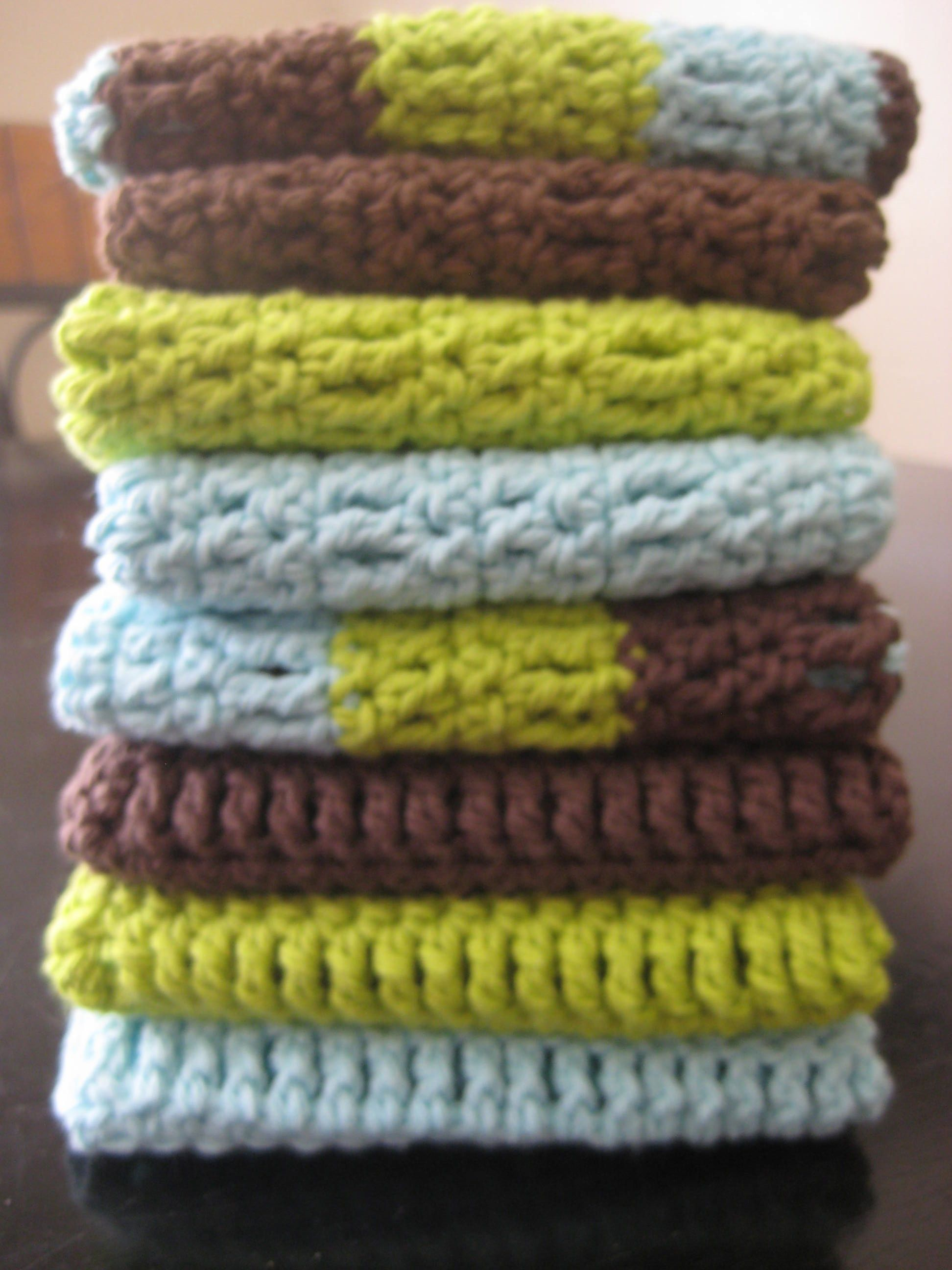 Crocheted Dish Cloths, skill level easy, single crochet, double ...