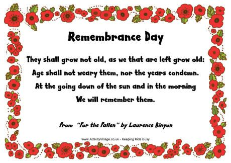 They Shall Not Grow Old Remembrance Day Poems Remembrance