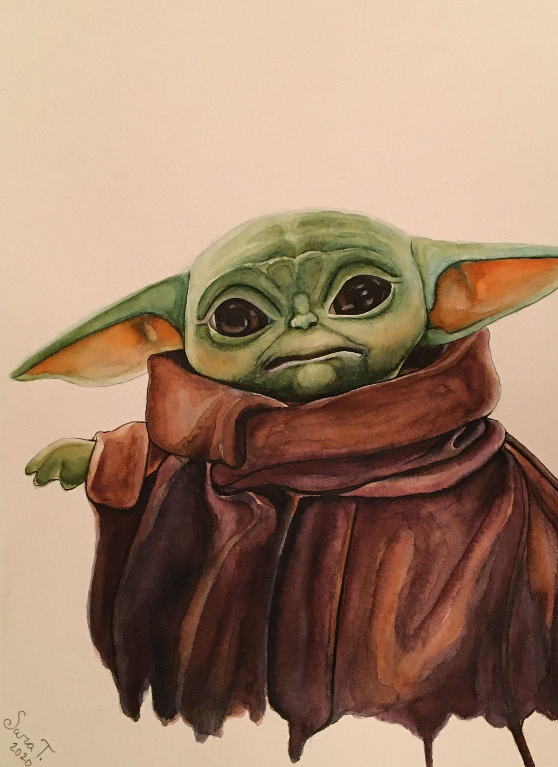 Baby Yoda Watercolor Star Wars Artwork Art Watercolor