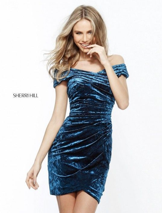 c367edfb0e Sherri Hill 51402 Off Shoulder Soft Velvet Cocktail Dress in 2019 ...