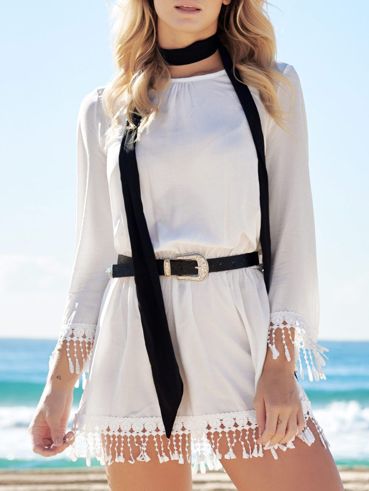 White Round Neck Long Sleeve Cover Up WHITE: Cover Ups | ZAFUL