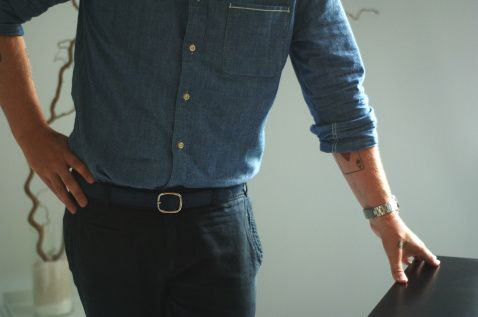 Janne for Yhden miehen tyyli. Denim shirt. Tattoo. Beard! Photo by Elina Simonen. #menswear #yhdenmiehentyyli