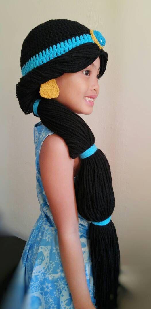 Princess jasmine wig crochet hat,disney princess crochet hat,baby ...