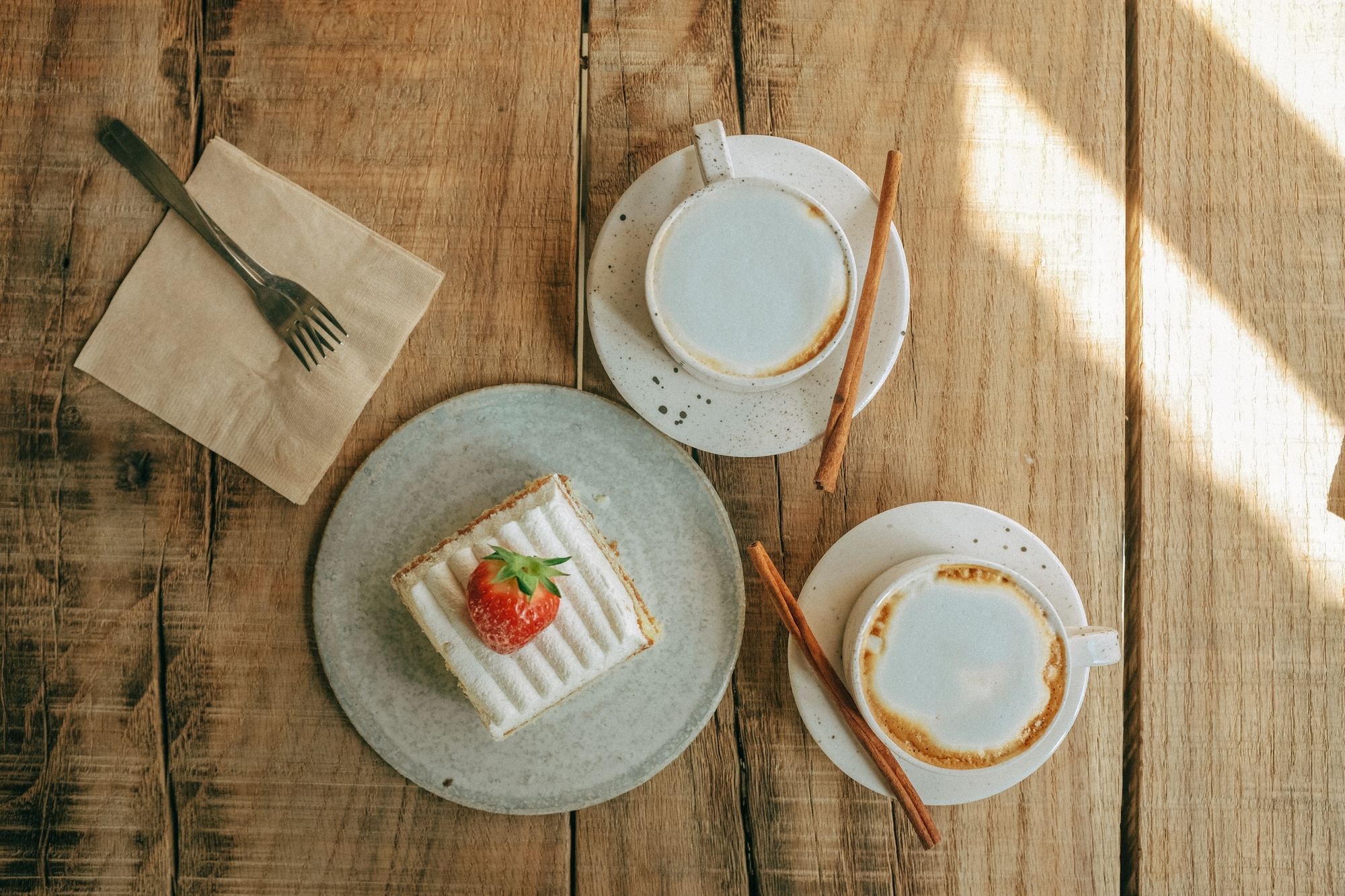 latte and cake in cafe 2020