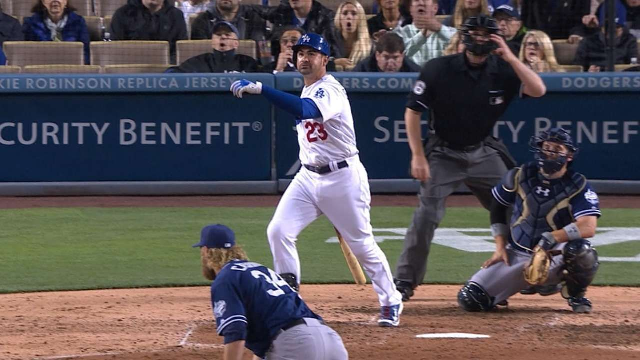 Los Angeles Dodgers Adrian Gonzalez First Player In Mlb History To Hit Five Homers In First Three Games Baseball Stadium Baseball Injuries Mlb Nationals