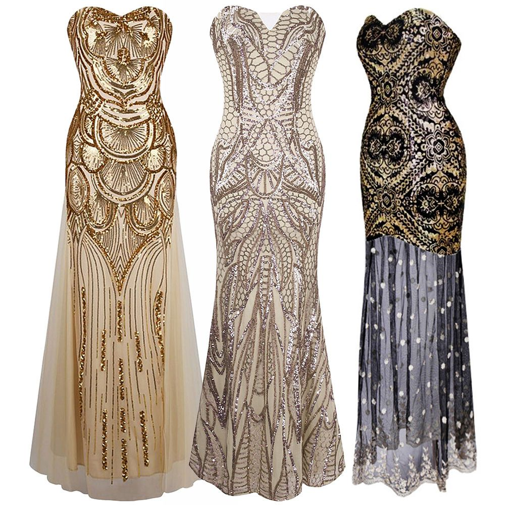 1920s Strapless Dress Deco Great Gatsby Vintage Sequin Cocktail Party Long Gown Fashion Prombal Great Gatsby Dresses 1920s Flapper Dress Gatsby Wedding Dress