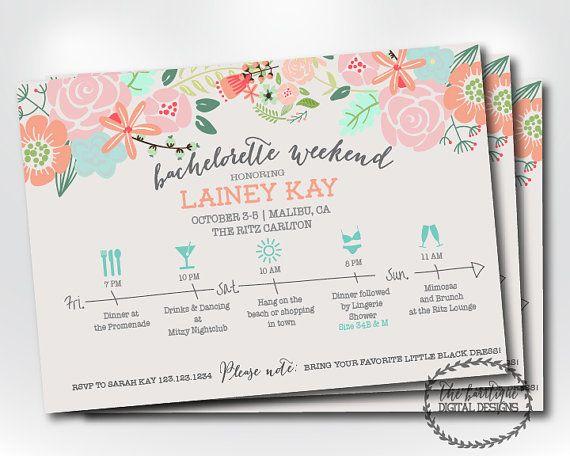 Bachelorette Party Itinerary Invitation; Bachelorette Weekend ...