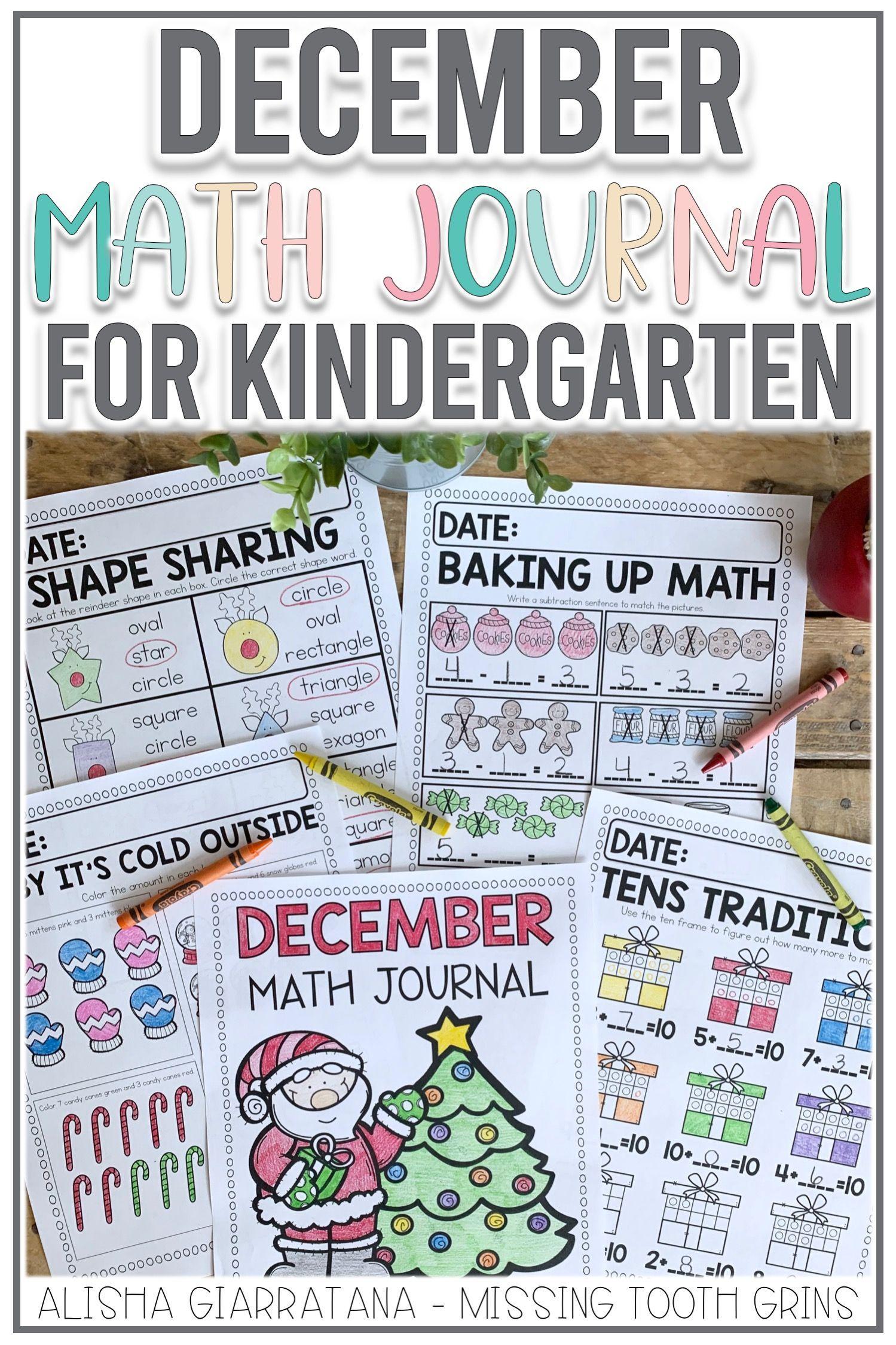 Math Journal December Kindergarten