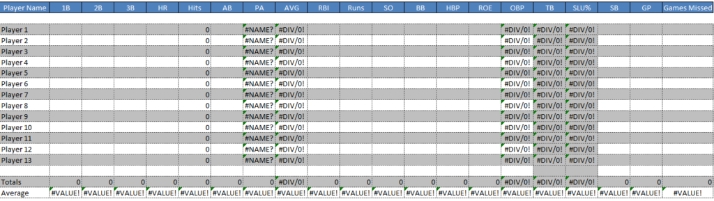 Baseball Spreadsheet Template Is A Score Sheet To Keep Up The