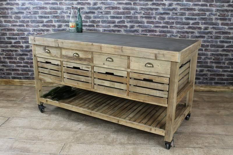 Vintage Style Zinc Top Kitchen Island Multi Drawer Bakers Table