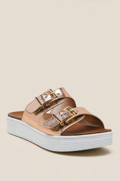 1846bc0e5cfb Step out in style with these cushioned Rose  Gold MIA Venessa Platform Slide   Sandals