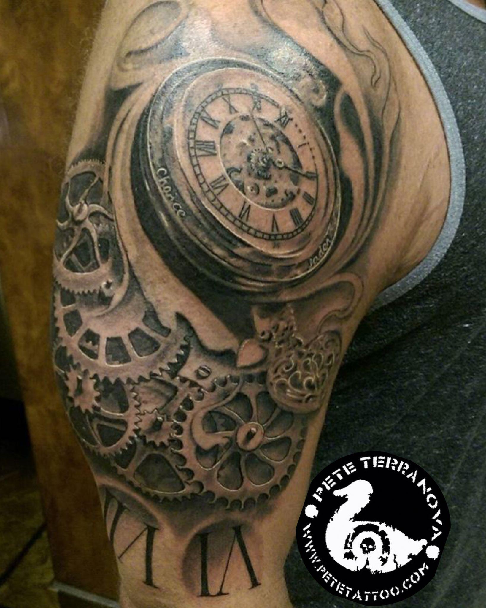 Black And Gray Clock And Gears Tattoo Custom Tattoos