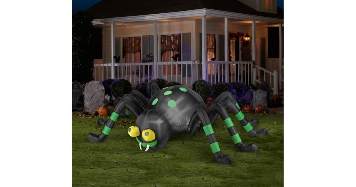The Green Striped Animated Airblown Spider will show everyone that