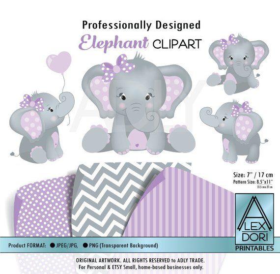 Cute Elephant Clip Art Baby Girl Purple And Gray Peanut Clip Art Png File Nursery Baby Shower Bi Elephant Clip Art Baby Girl Elephant Baby Girl Art