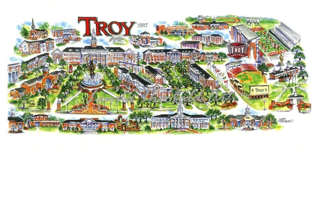 Troy University Map Love This Future Gifts