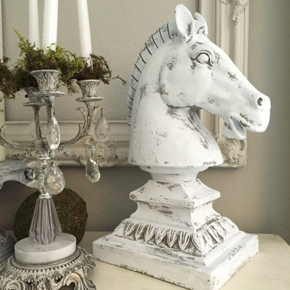 HORSE HEAD STATUE, French Provincial Table Centerpiece White Painted  Distressed Horse Bust Home Decor