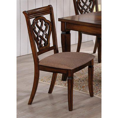 Coaster Fine Furniture 103392 Carved Back Dining Side Chair (Set Of 2)