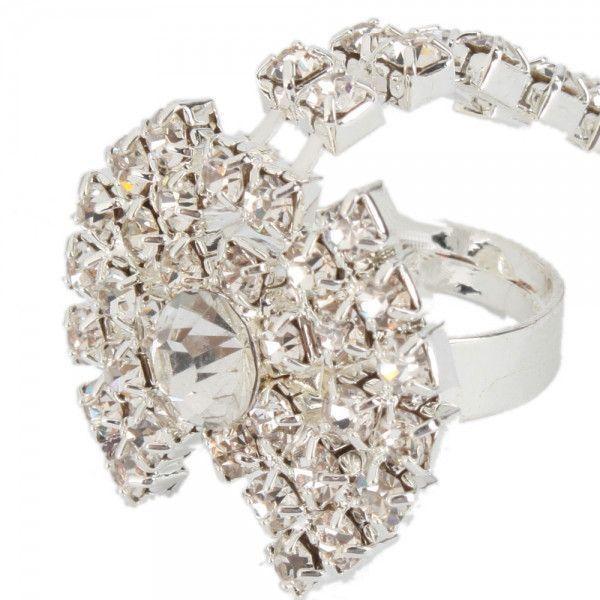Charming Net Design Rhinestone Bracelet & Ring