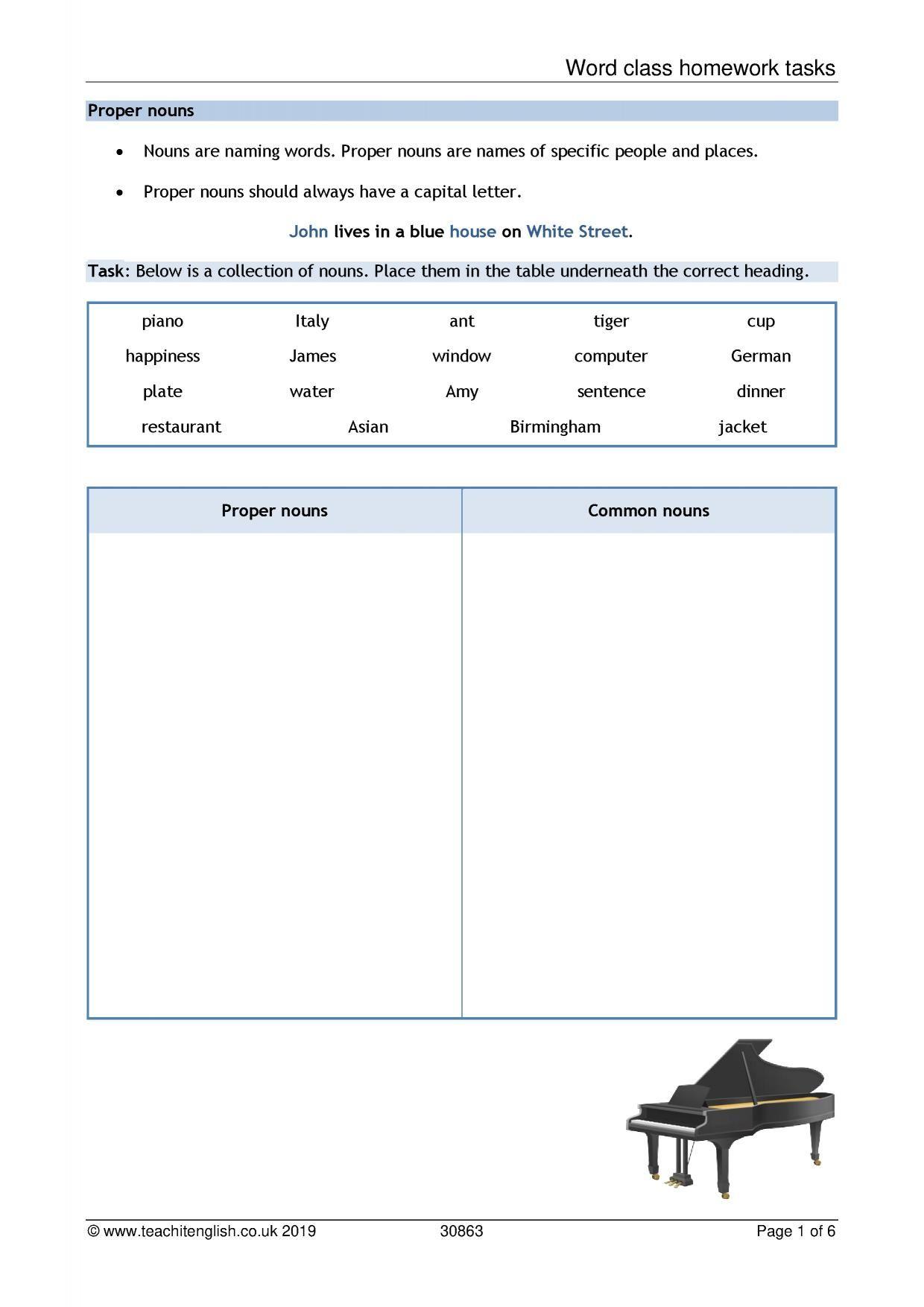 Word Class Homework Tasks In