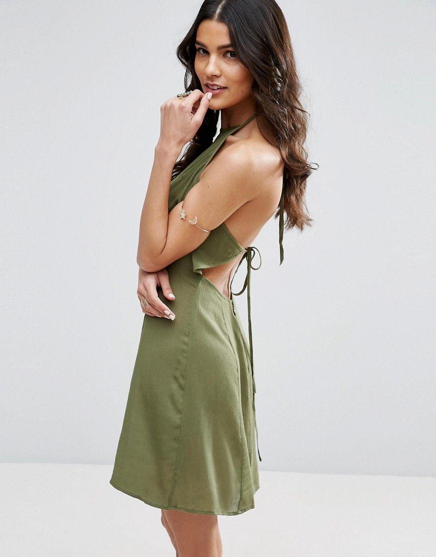 Buy it now. ASOS Tie Back Sundress in Crinkle Fabric - Green. Dress ...