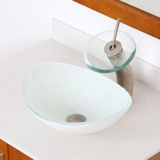Elite 1420 F22tbn White Oval Tempered Glass Bathroom Vessel Sink