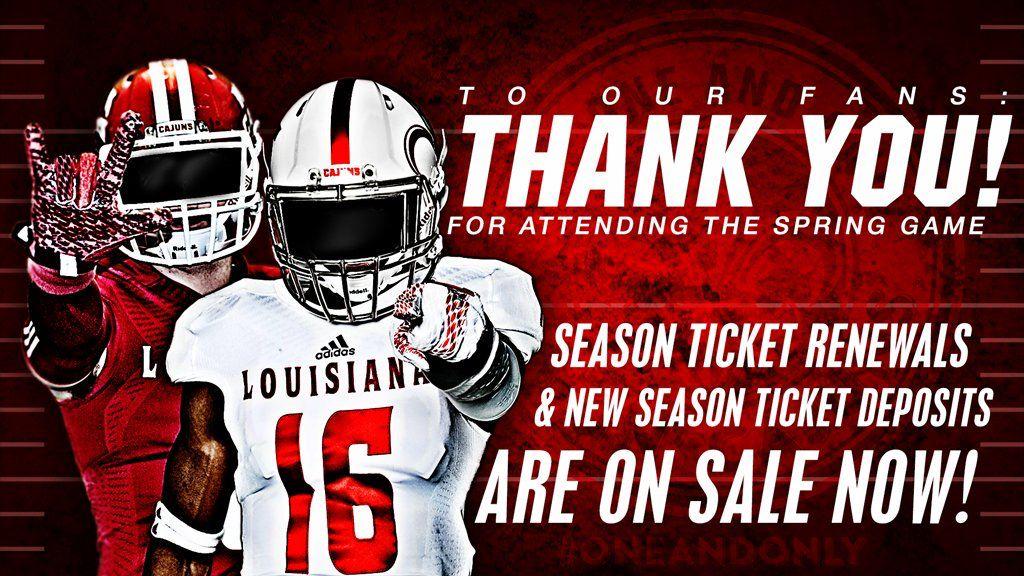 Louisiana Lafayette Sales And Marketing Season Ticket Spring Games