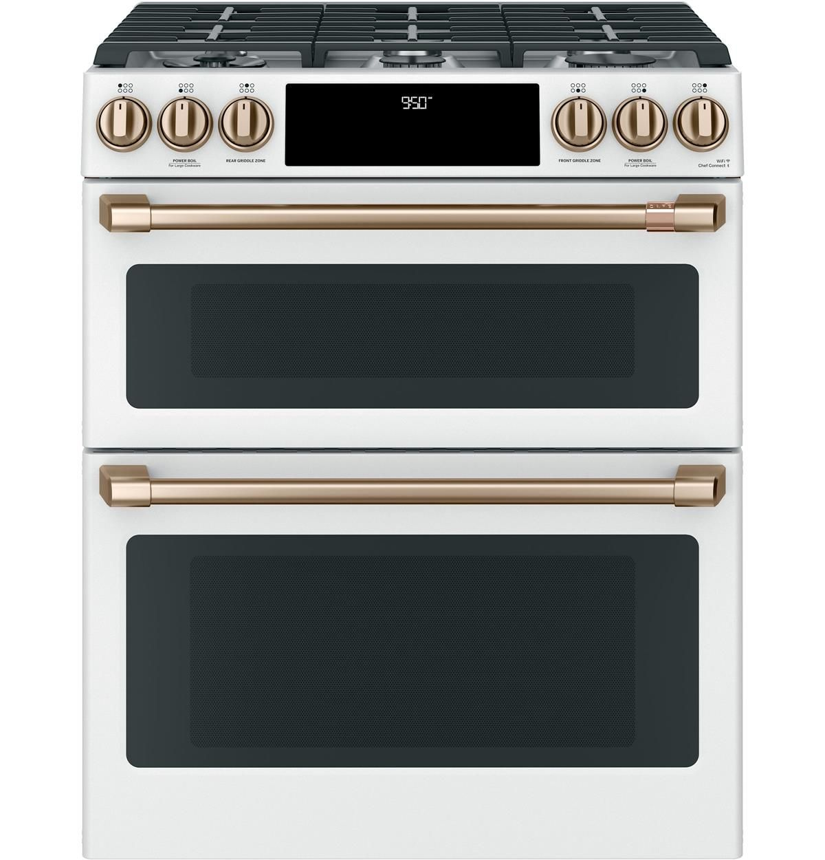 C2s950p4mw2 Overview Cafe 30 Slide In Front Control Dual Fuel Double Oven With Convection Range Cafe Appliances Gas Double Oven Gas Oven Double Oven Range