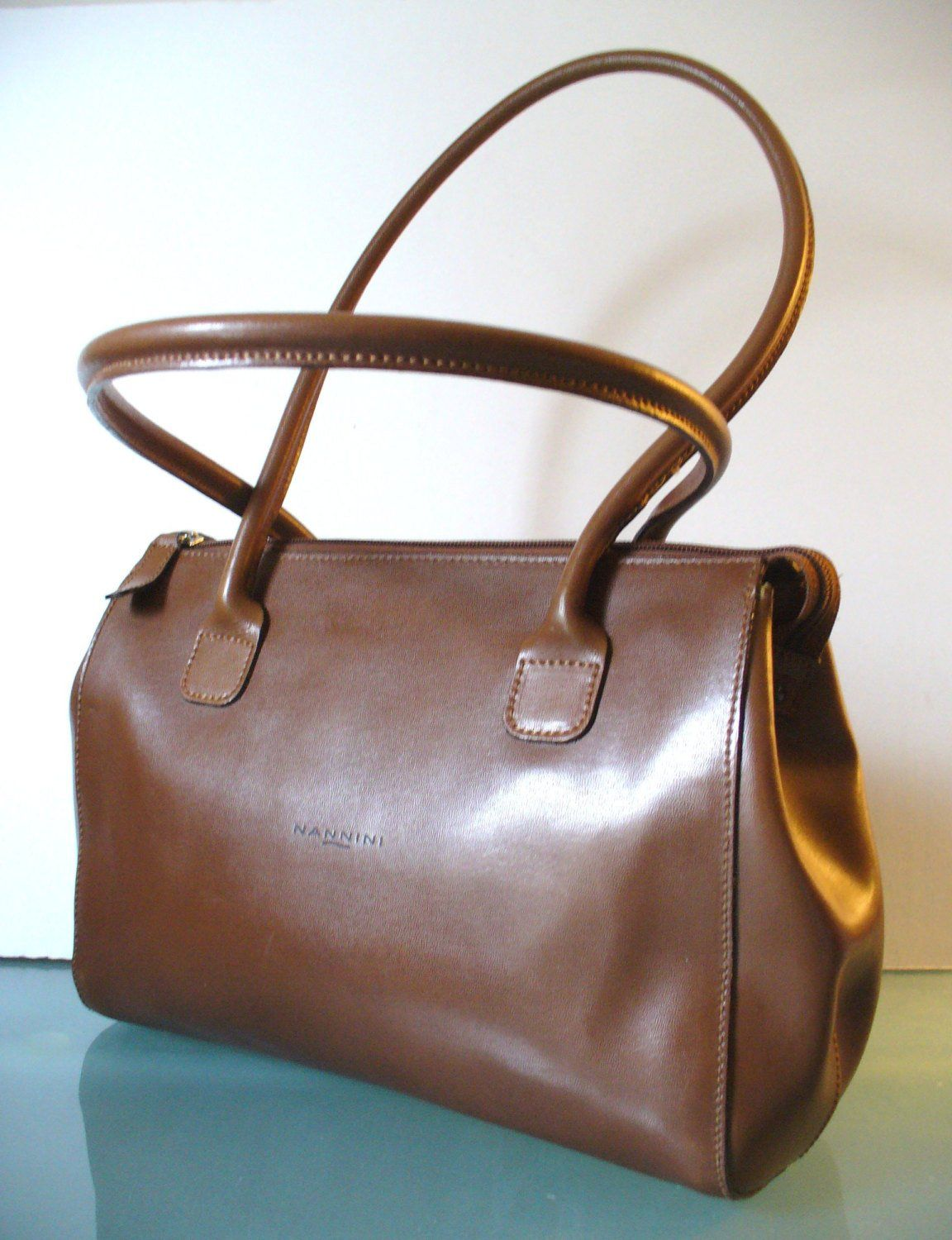 Nannini Made In Italy Cocoa Leather Tote Bag By Eurotraaly On Etsy