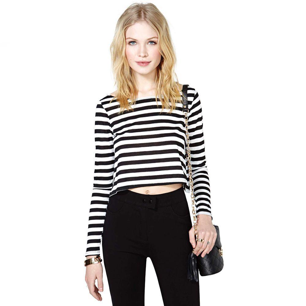 36db611d9 Hot Women Casual T-Shirt Stripe Crew Neck Long Sleeve Short Crop Top ...