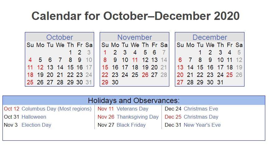 October November December 2020 Holidays Printable Calendar
