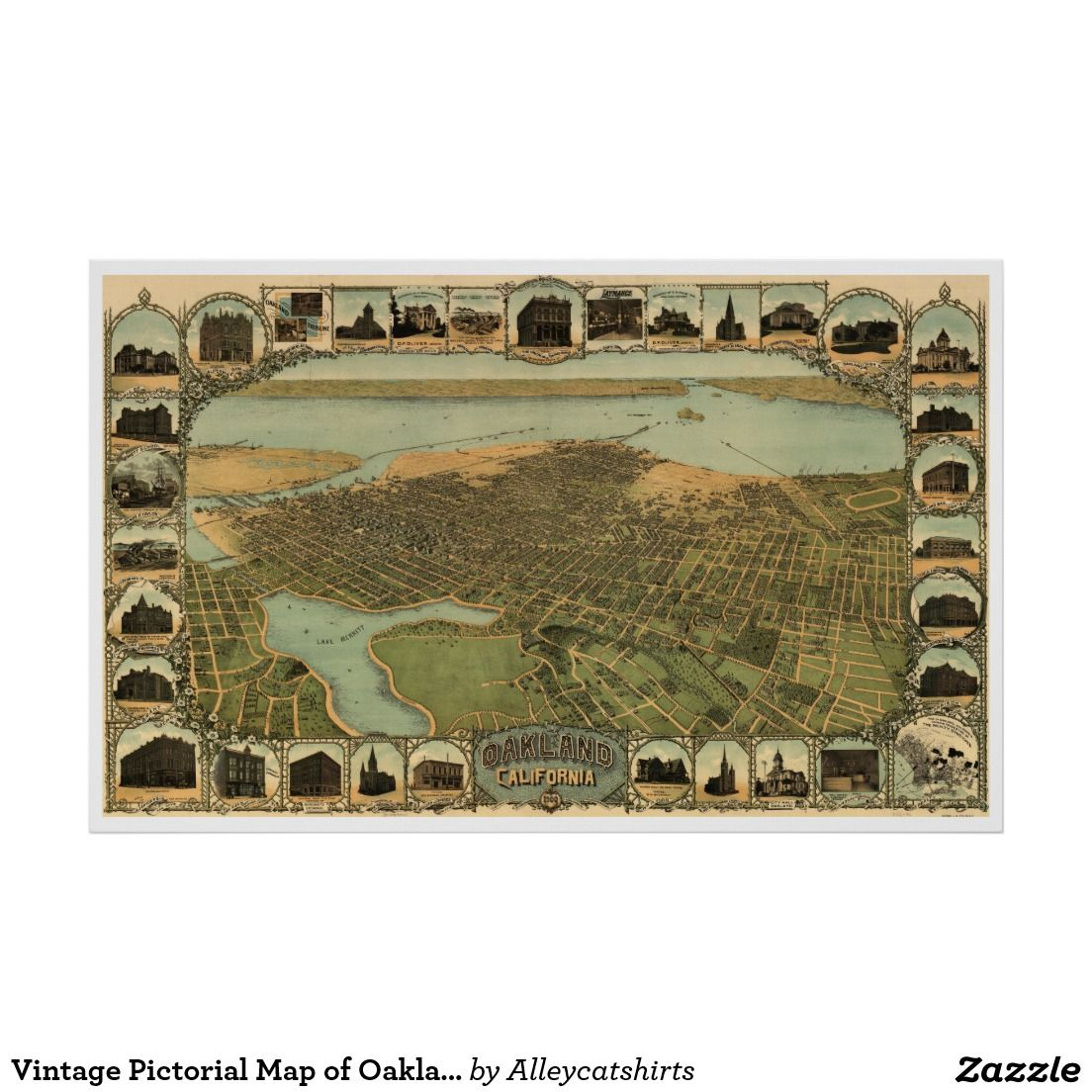 Vintage Pictorial Map of Oakland California 1900
