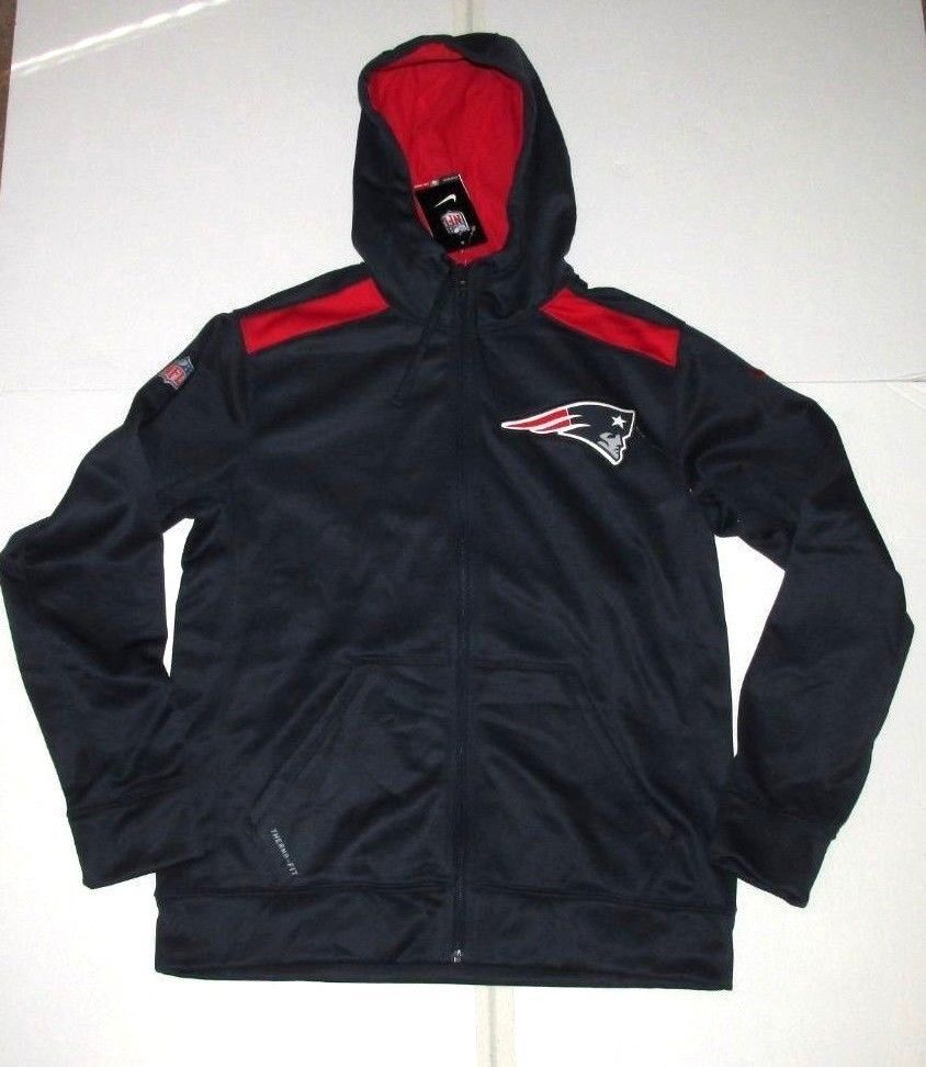 Nike New England Patriots Shield Fz Hoodie Jacket Mens M Navy Red 542801 419 Nike Newenglandpatriots Hoodie Jacket Mens Jackets Jackets