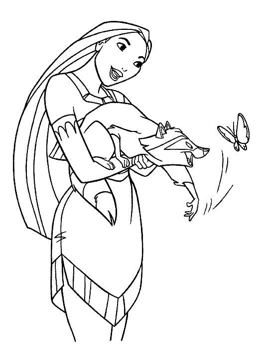 Disney Pocahontas Play With Meeko Coloring Pages | The Coloring ...