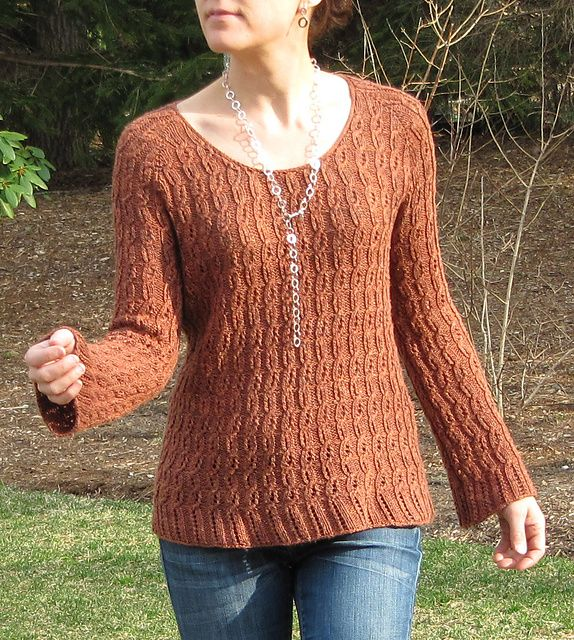 Lace Cable Rib Pullover pattern by Angela Hahn