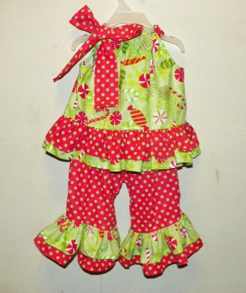 Christmas holiday 0 3 6 9 12 18 months baby girl outfit polka dot candy  green red. $38.00, via Etsy. - Christmas Holiday 0 3 6 9 12 18 Months Baby Girl Outfit Polka Dot