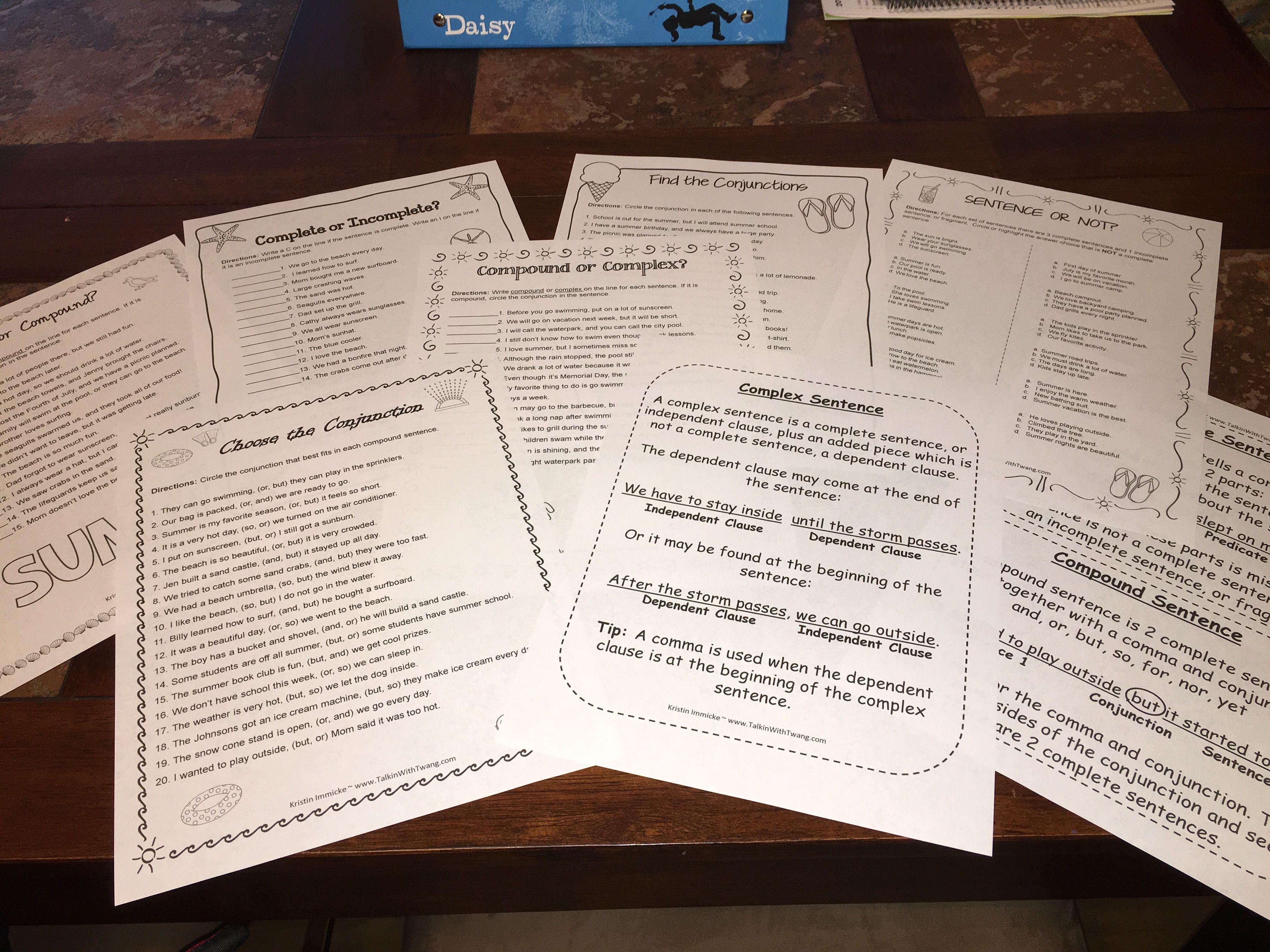 Print And Go Simple Compound Amp Complex Sentences