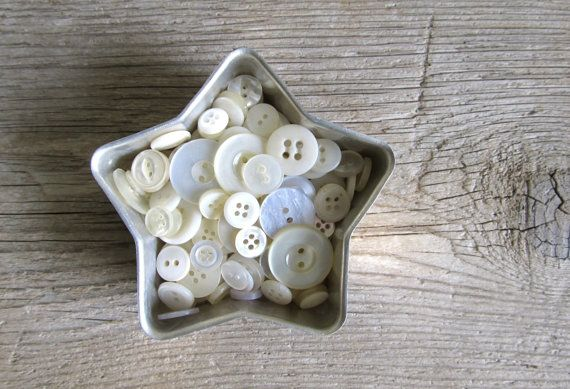 White Buttons in Vintage Jello Tin Star Mold by cattales on Etsy, $5.00