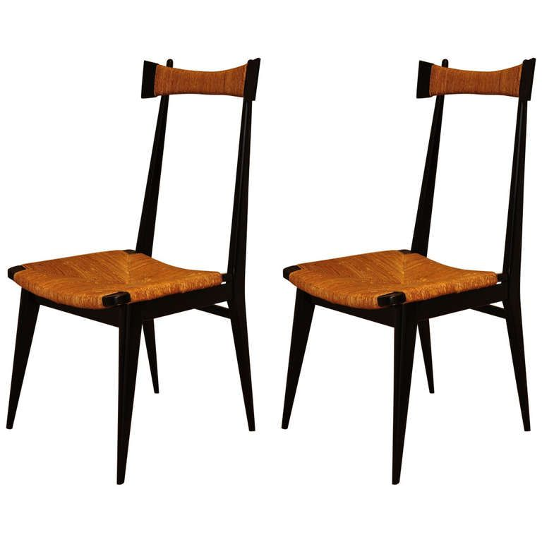 Set of 8 Chairs in the style of ico Parisi | From a unique collection of antique and modern chairs at https://www.1stdibs.com/furniture/seating/chairs/