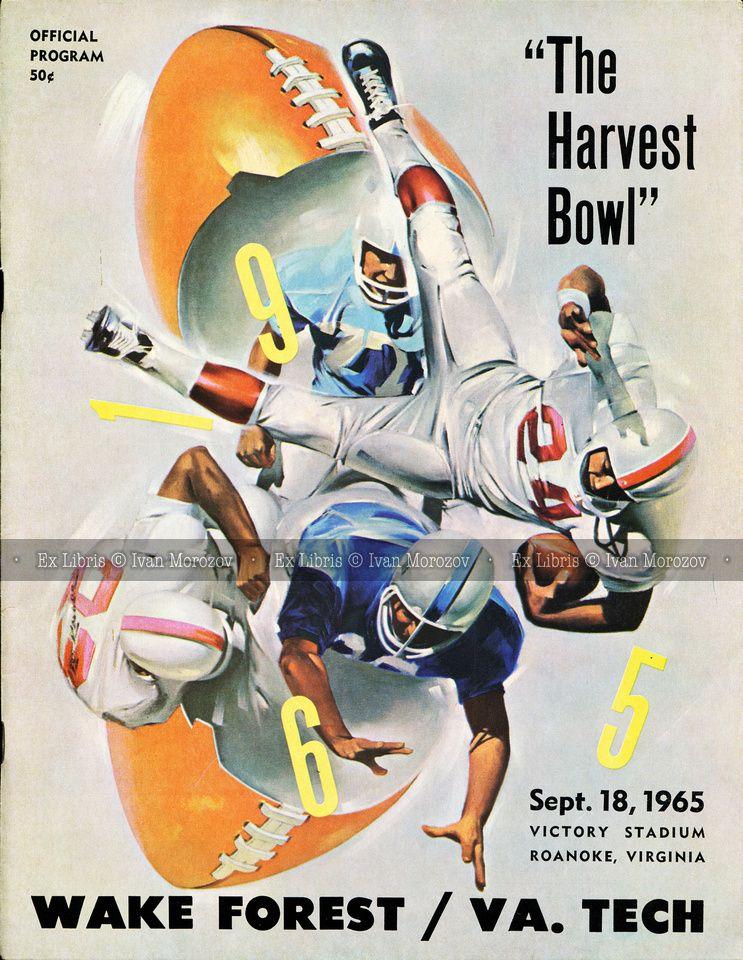 1965.09.18. Virginia Tech (Hokies) vs Wake Forest University (Demon Deacons). VT Head Coach: Jerry Claiborne. Victory Stadium, Roanoke, VA. Final score: Virginia Tech 12, WFU 3.