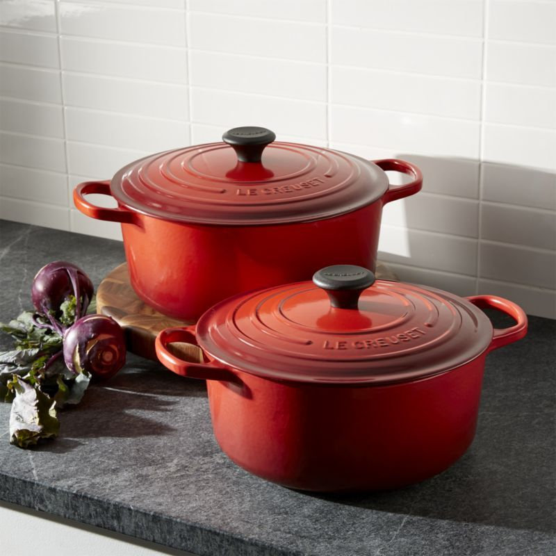 Le Creuset Signature 9Qt Round Cerise Red French Oven with Lid