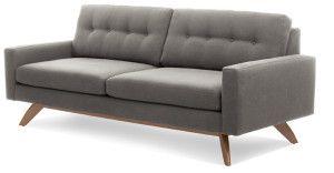 Luna - retro leg two seater fabric couch