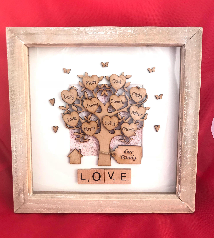 Engraved family tree scrabble box frame ideal christmas gift for engraved family tree scrabble box frame ideal christmas gift for mum and dad personalised jeuxipadfo Choice Image