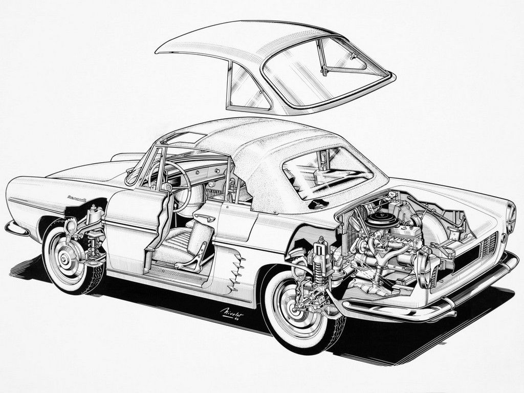 Line Drawing Car : 1958 1962 renault floride convertible designed by ghia