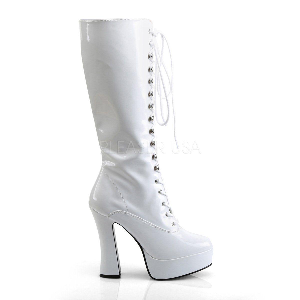 Pleaser Electra 2020 Black Patent Lace-Up Stack Heel Knee High Platform Boots
