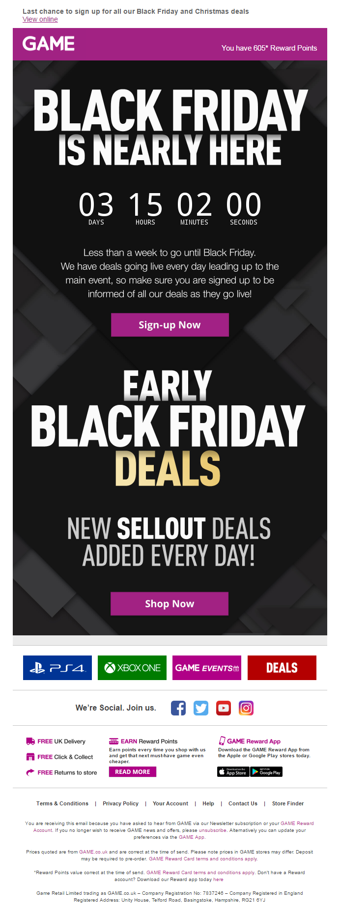 Black Friday Email From Game With Countdown Timer Emailmarketing Email Marketing Countdown Timer Blac Black Friday Email Black Friday Black Friday Banner