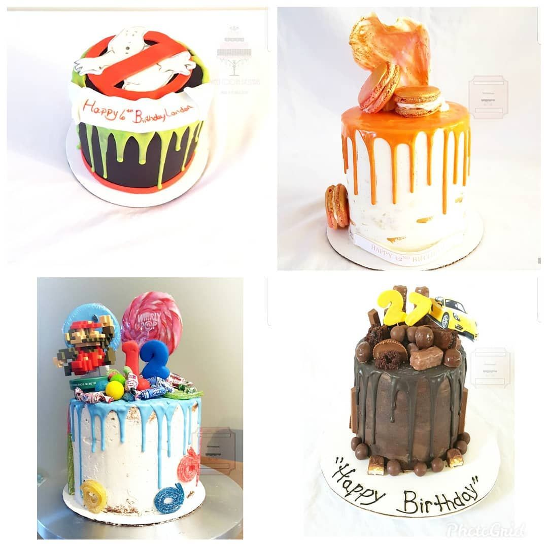 Drip cakes though pretty simple in design can be decorated elegantly for a grown up birthday or even a wedding. Or how about something fun with a movie theme or favorite things birthday.  No matter the occasion contact Sweet Tooth Desserts to order one for your next event or party and wow your guest!!! : :