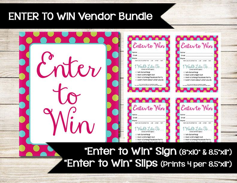 Enter To Win  Sign  Raffle Ticket  Drawing Slip  Door Prize