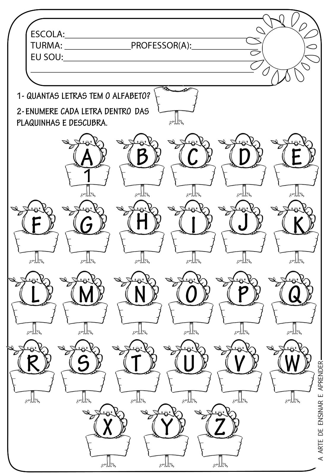 Conhecido A Arte de Ensinar e Aprender: Atividade pronta - Alfabeto e  JF14